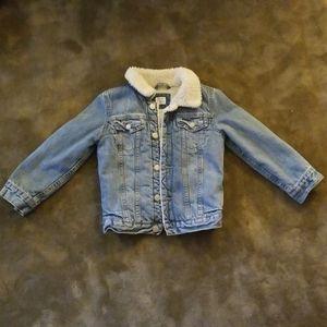 Gap kids denim shearling lined jacket